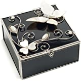 Juliana Glass & Wire Black Glass - Mother Of Pearl Square Trinket Box