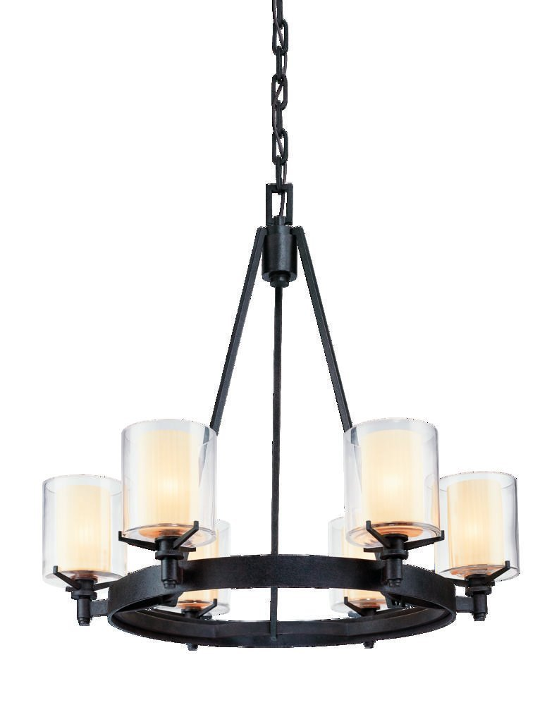 Amazon.com Troy Lighting Arcadia 6-Light Chandelier - French Iron Finish with Clear Outer and Ribbed Provence Inner Glass Home Improvement  sc 1 st  Amazon.com & Amazon.com: Troy Lighting Arcadia 6-Light Chandelier - French Iron ...