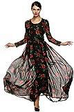 FINEJO Women's Summer Elegant Floral Slim Beach Casual Long Maxi Dres