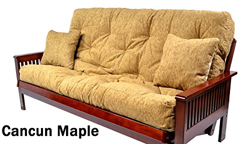 Futon Mattress With Upholstery Grade Cover Pocket Coil With 2 Matching Pillows (Full, Cancun Maple) Made in the USA