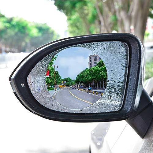 Car Rearview Mirror Film is Made of Transparent Nano Film,Anti-rain Mirror can Prevent Glare,Scratch,Waterproof,Anti Water Mist Film Suitable for All Kinds of Car Rearview Mirror 2Pack(Round)