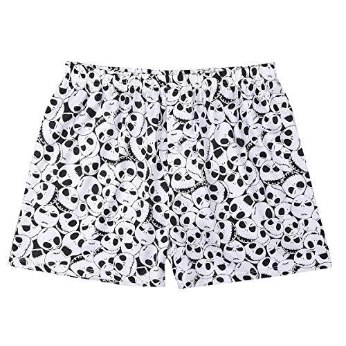 - ACSUSS Men's Frilly Satin Boxers Shorts Silk Summer Lounge Underwear (Large, Skull White)