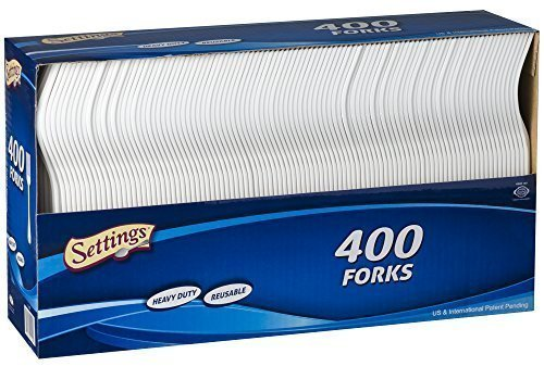Settings Cutlery Forks 400 Count Disposable Plastic White