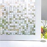 Bloss Window Film Premium No-Glue 3D Privacy Window Film for Home Kitchen Office, Square Pattern, 17.7-inch x 78.7-inch
