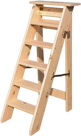Escalera de Taburete Plegable de 6 peldaños, escaleras para escaleras de Madera para sillas de casa para niños y Adultos, Herramienta Liviana para el jardín de casa Máx. Altura 150kg: 120cm.: Amazon.es: