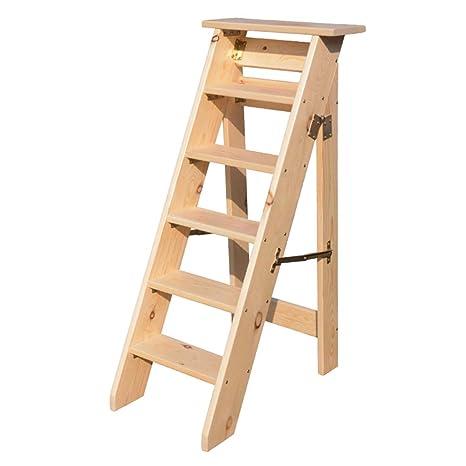 Escalera de Taburete Plegable de 6 peldaños, escaleras para escaleras de Madera para sillas de casa para niños y Adultos, Herramienta Liviana para el ...