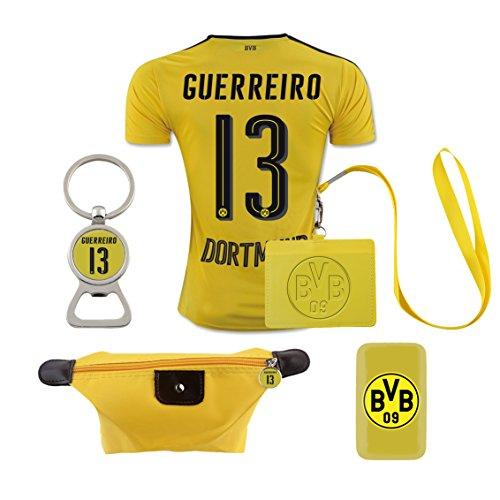 #13 Guerreiro (6 in 1 Combo) Dortmund Home Match Adult Soccer Jersey 2016-17
