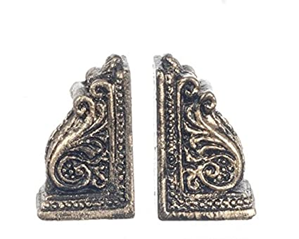 DOLL HOUSE MINIATURE SCROLL BOOKENDS RESIN