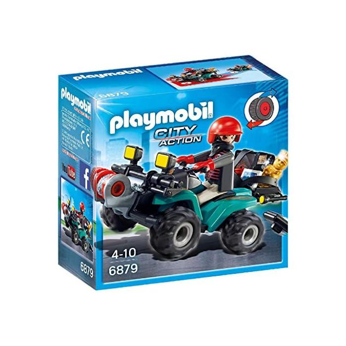 Con motor de fricción Figura de ladrón con guantes Gato y linterna; el quad dispone de una caja para transportar el botín: premio