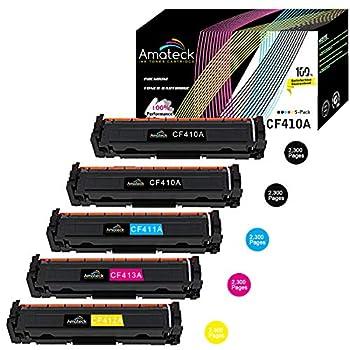 Image of Amateck Compatible Toner Cartridge Replacement for HP CF410A CF411A CF412A CF413A (HP 410A) 5 Pack for Color Laserjet Pro MFP M377dw, M452dn, M452dw, M452nw, MFP M477fdn, M477fdw, M477fnw