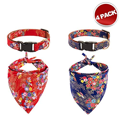 Mihachi Dog Collar and Bandana Set - Adjustable Floral Pattern Collar Double Layer Scarf Triangle Bibs Kerchief for Medium to Large Dogs Red and Blue Two-Piece Set