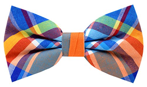 Carahere Mens Cotton Plaid Bow Ties Adjustable Pre Tied Bow Ties For Men