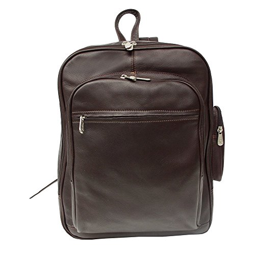 (Piel Custom Personalized Leather Entrepeneur Front-Pocket Computer Backpack in Chocolate)