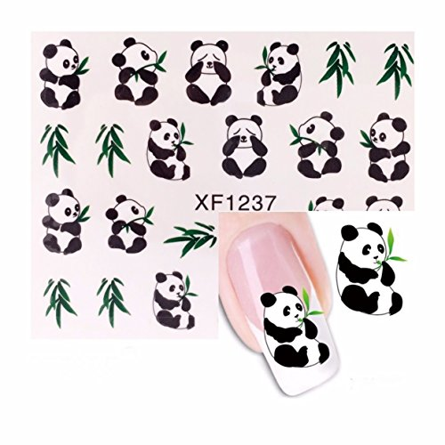 1 Set 3D Panda Nail Art Sticker DIY Water Transfer Nails Wrap Paint Tattoos Stamping Plates Templates Tools Tips Kits Pleasure Popular Xmas Christmas Winter Snow Holiday Stick Tool Vinyls Decals Kit