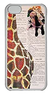 Transparent Hard Plastic Case for iPhone 5C,Giraffe Case Back Cover for iPhone 5C