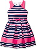 Nannette Little Girls' Printed Knit Dress with Colorblock Detail, Pink, 5