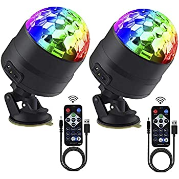 LED Disco Ball Light FITNATE 2 Pack 7 Lighting Modes Sound Activated Party Lights with Remote Control,High Quality for Parties Bar Wedding Home Dance Show Club