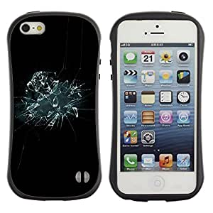 Suave TPU GEL Carcasa Funda Silicona Blando Estuche Caso de protección (para) Apple Iphone 5 / 5S / CECELL Phone case / / Glass Shattered Mirror Black Blue Wallpaper /