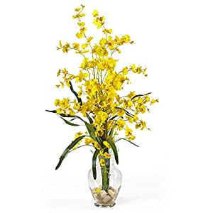 SKB Family Dancing Lady Liquid Illusion Silk Flower Arrangement Home Wedding Party Yellow Deco