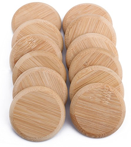 (Dedoot Natural Color Decorative Bamboo Lids for Mug Jars, Wooden Mug Cover, Glass Jar Wood Drink Cup Lid (Outer Diameter 2.6 Inches) -- Pack of 12)