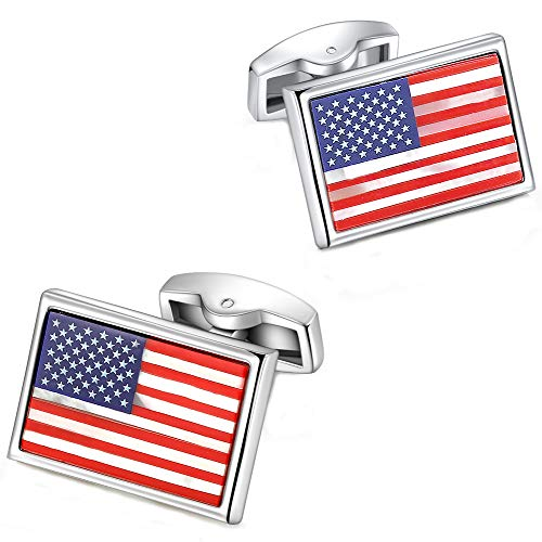 PANDALUO American Flag Cufflinks, Pure Natural White Shell and Agate Gemstone Cuff Links Set for Men's Business Wedding Party Cufflinks Gift ()