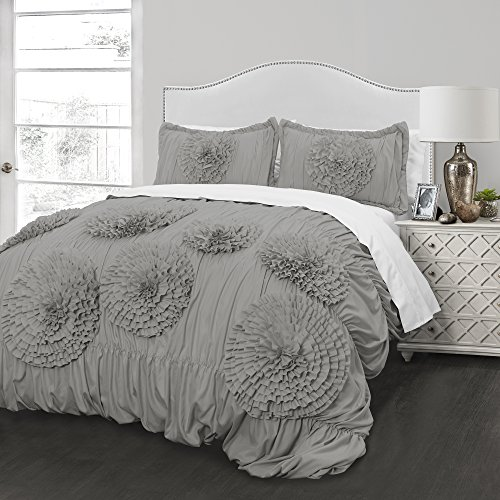 Hand-Crafted Better Homes and Gardens Ruffled Flowers Comforter Bedding Set (Grey, Full/Queen)