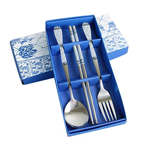 Sealike Metal Stainless Steel Chopsticks Spoon and Fork Set Chinese Style Blue and White Porcelain Design with (Design Chopsticks)