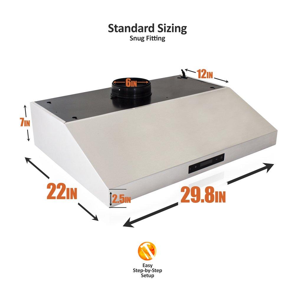 BV Range Hood – 30 Inch 860 CFM Touch Screen Under Cabinet Stainless Steel Kitchen Range Hoods, Dishwasher Safe Baffle Filters w LED Lights, 3 Way Installation, Ducted Kitchen Exhaust Fan Hood