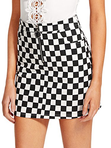 WDIRA Women's Elegant Mid Waist Above Knee O-Ring Zipper Front Plaid Skirt Black S by WDIRA
