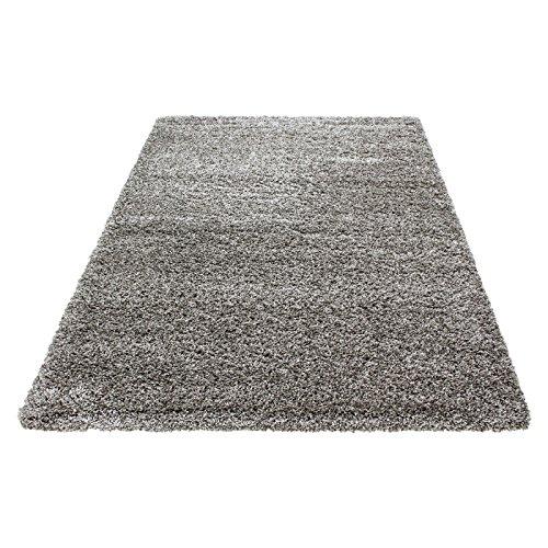 Teppich Hochflor Wohnzimmer Langflor Shaggy Unifarbe vers. Farben und Größen - Taupe, 200x200 cm Quadrat