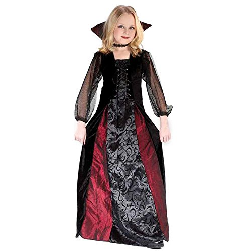 Fun World Goth Maiden Vamp Child's Gothic Vampira Costume, Multicolor, Large -