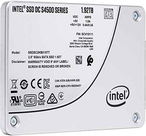 Intel SSD DC S4500 1.92TB 3-D TLC SATA 6Gb/s 2.5-Inch x 7mm Enterprise Solid State Drive (SSDSC2KB019T701)
