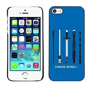 "For Apple iPhone 5 / 5S , S-type Elija sabiamente su arma"" - Arte & diseño plástico duro Fundas Cover Cubre Hard Case Cover"