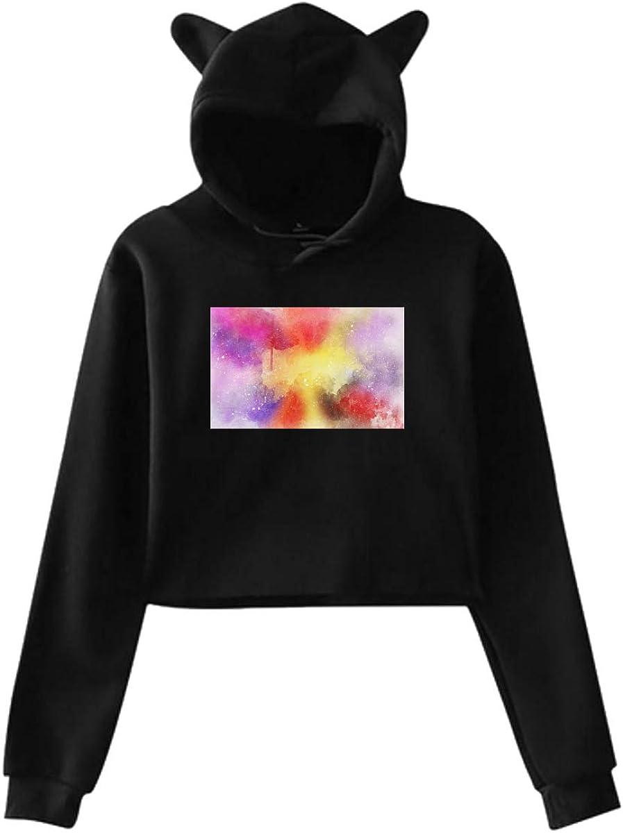 Fashion Sweatshirt Sweater Black Personality Girl Cat Ears Umbilical Hoodie