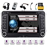 Free 8GB Map Card + EinCar Double Din 7 Inch Car Stereo Radio DVD GPS Nav CD Player In Dash Bluetooth Touch Screen Head Unit for VW Passat t5 Golf MK5 Jetta with Wireless Remote Control