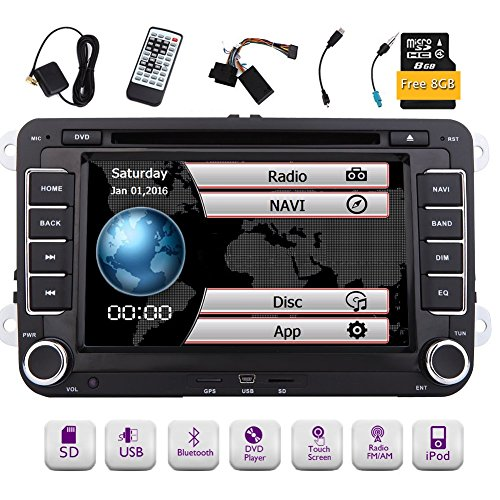 - Free 8GB Map Card + EinCar Double Din 7 Inch Car Stereo Radio DVD GPS Nav CD Player in Dash Bluetooth Touch Screen Head Unit for VW Passat t5 Golf MK5 Jetta with Wireless Remote Control