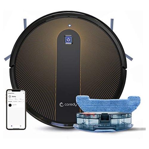 chollos oferta descuentos barato Coredy R750 Robot Aspirador y Fregasuelos 3 en 1 con conexión Wi Fi Alexa y Google Home Potente aspiración de 1600Pa Ultrafino silencioso Barre aspira y friega para Suelos Duros y Alfombras