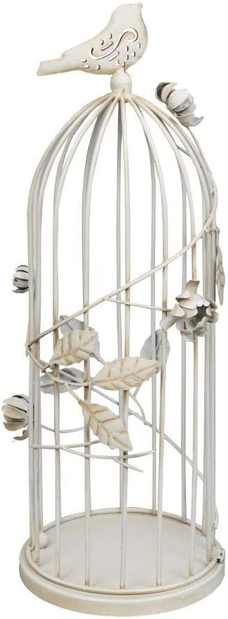 Lanterne en forme de cage /à oiseaux Blanc antique 38 cm