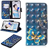 Ostop Huawei P Smart Wallet Case,3D Cute Printed Pattern Leather Case Kickstand Card Holder Magnetic Flip Folio Cover,Gold Butterfly Navy Blue PU