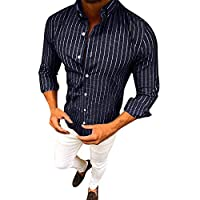 Gergeos Mens Striped Button Down Casual Long Sleeve Dress Shirts Tops (Navy,M)