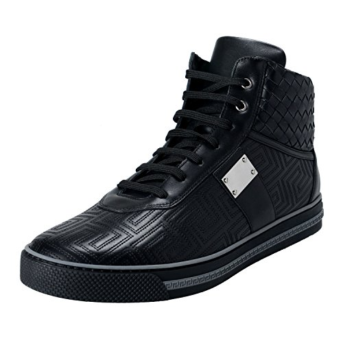Gianni-Versace-Mens-Black-Leather-Hi-Top-Sneakers-Shoes-US-14-IT-47