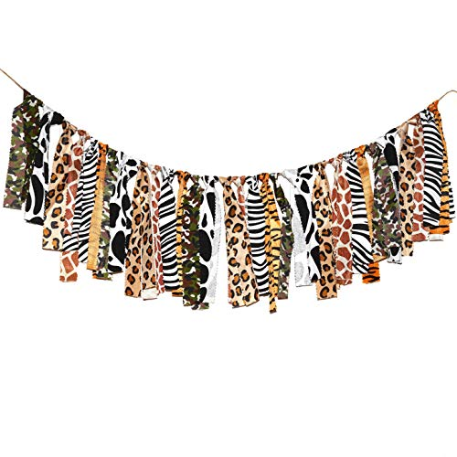Jungle Safari High-Chair Banner Party Supplies - African Zoo Animal Wild One Birthday Baby Shower Party Banners Supplies Photo Booth Backdrop Props