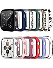 12 Pack Case with Tempered Glass Screen Protector for Apple Watch 38mm Series 3/2/1, Cuteey Full Mate Leopord Cow Pattern PC Cover for Iwatch 38mm Accessories