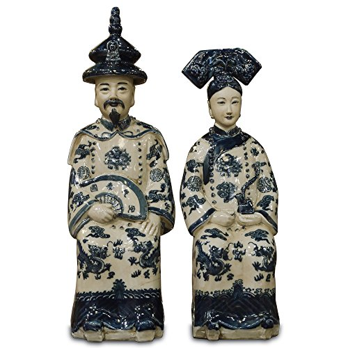 (ChinaFurnitureOnline Porcelain Chinese Emperor and Empress Figurines, Hand Painted Blue and White Set of 2)