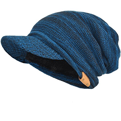 Mens Womens Thick Fleece Lined Knit Newsboy Cap Slouch Beanie Hat with Visor (Blue)