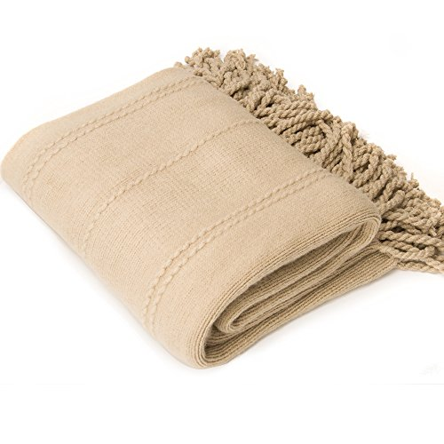 "battilo Inc Cable Knit Woven Luxury Throw Blanket With Tasseled Ends (Beige, 52""x80"")"