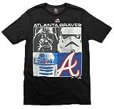 Atlanta Braves MLB Big Boys Youth Star Wars Main Character T-Shirt, Black
