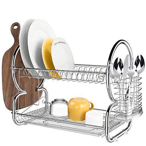 BATHWA 2-Tier Stainless Steel Dish Rack Drainer Board Set Dish Drying Rack 17L x 10W x 15H Inches (2-Tier)