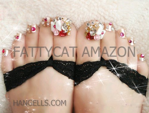 """Fashion Japanese 3D TOE Nail Art """"SPRING FLORAL"""" 10 full-handmade JEWELRY TIPS Sold By FATTYCAT (Please check the size and information below)"""