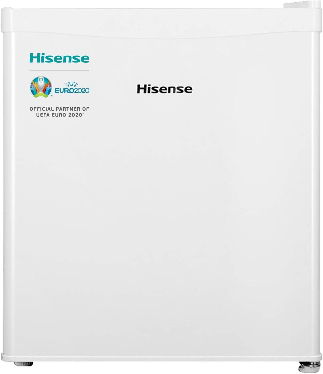 Hisense RR55D4AW1 - Mini Bar, Frigorífico Pequeño, 42L de Capacidad Neta, 51 Cm Alto, Table Top, Una Puerta Reversible, Clase A+, Bajo Encimera, Color Blanco, Silencioso